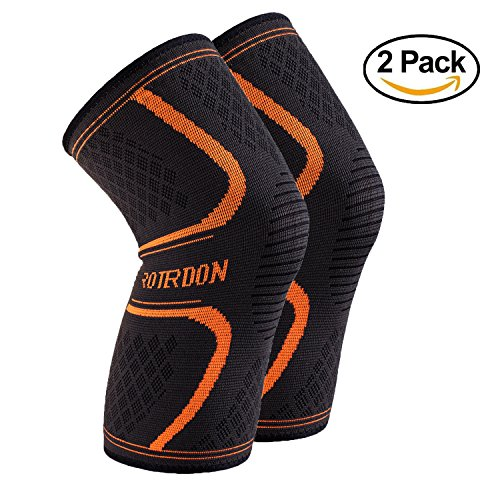 Sports Knee Brace Support Sleeves, Roterdon Athletic Compression Knee Sleeve For Sport Fitness Pain Relief Arthritis Support Running Jogging Football Basketball Brace (M, Black (10 Cent Golf Balls)