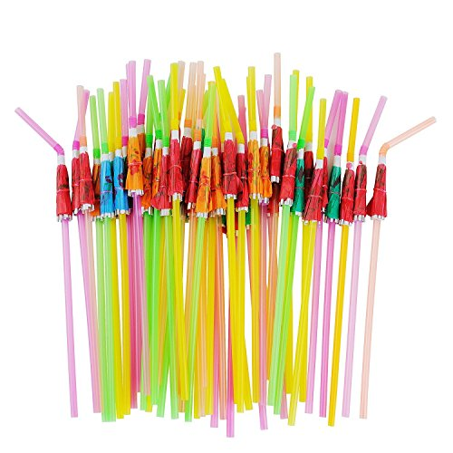 Tiki Bar Party Supplies (ALINK 50 Umbrella Parasol Drinking Straws, Hawaiian Beach Cocktail Luau Party Decorations)