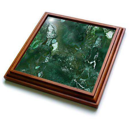 3dRose trv_265465_1 Malachite Green and Silver Blush Gemstone Ink Marble Trivet with Tile, 8 by 8'' by 3dRose