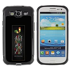 iArmor / Hybrid Anti-Shock Defend Case / Alphabet Rooster Colorful Letters Art Bird / Samsung Galaxy S3 I9300