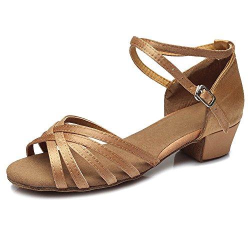 Talon Beige danse Femmes latine Filles YFF Danse Tango Chaussures de de Femmes bal 3 601 de 5cm Enfants Chaussures Aqx6XU