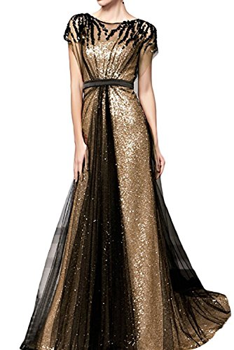Beaded Slim Cut Formal Dress (Promstar Women's Elegant Gold Sequins Floor Length Bead Prom Evening Dresses)