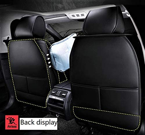 N//A B004 Car Seat Cover Leather All-Season 5-Seat Universal Fit Black-White