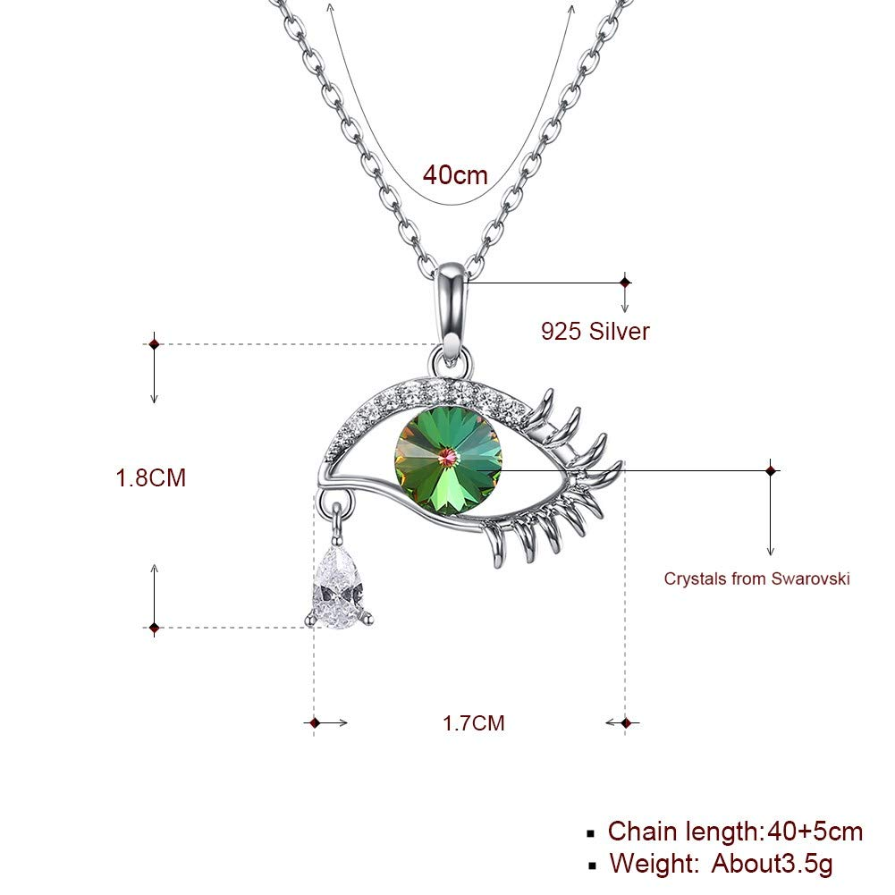 myazs8580 LEKANI Crystals from Swarovski S925 Pure Silver Devils Eye Selling Crystal Pendant Necklace