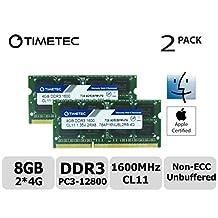 Timetec Hynix IC Apple 8GB Kit (2x4GB) DDR3L 1600MHz PC3L-12800 SODIMM Memory Upgrade For MacBook Pro 13-inch/15-inch Mid 2012, iMac 21.5-inch Late 2012/Early 2013,27-inch Late 2012/ 2013,Retina 5K display Late 2014/Mid 2015,Mac mini Late 2012/ Server (8GB Kit (2x4GB))