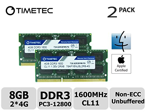 Timetec Hynix IC Apple 8GB Kit (2x4GB) DDR3L 1600MHz PC3L-12800 SODIMM Memory Upgrade For MacBook Pro 13-inch/15-inch Mid 2012, iMac 21.5-inch Late 2012/Early 2013,27-inch Late 2012/ 2013,Retina 5K display Late (Macbook Ram Upgrade)