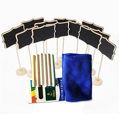 12Piece Mini Rectangle Chalkboard Stands / Signs,6Piece Colorful Chalk with Cleaning Cloth for Wedding Dinner Party Table Numbers Place Card Favor Tag Plant Decorative Sign