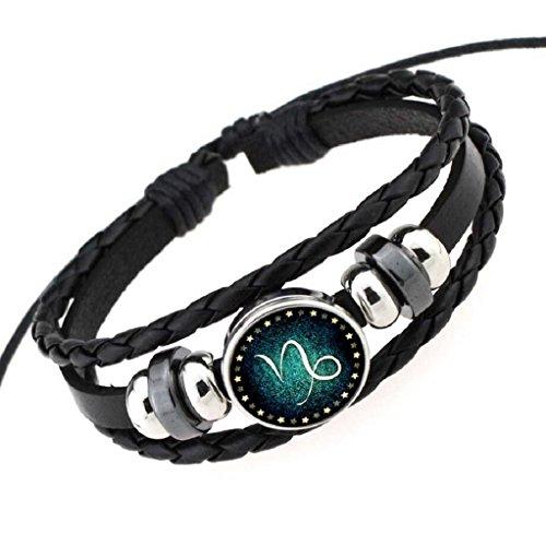 Fariishta Jewelry Hand Braided Retro Constellation Capricornus Leather Wrap Bracelet (Mandarin Hat With Braid)