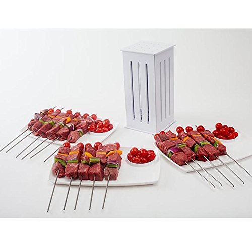 HDTstore BBQ 16 Holes Meat Skewer Kebab Maker Box Maker Maker Machine Beef Meat Maker with 32 Bamboo Skewers