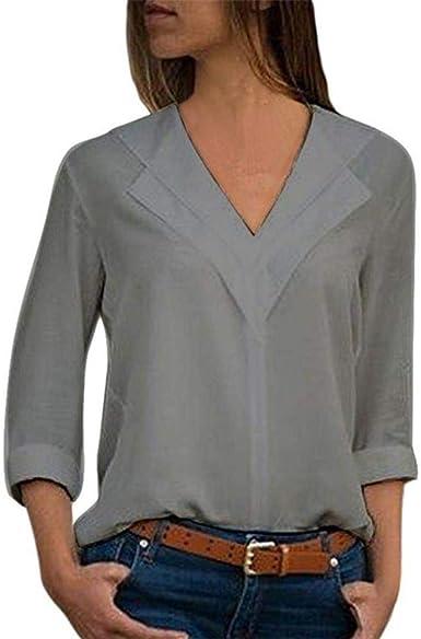 Blusa Blanca Blusa de Gasa de Manga Larga Camisa con Cuello ...