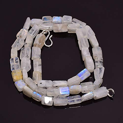 Rectangle Bead Necklace - Beads Hub Natural Rainbow Moonstone Gemstone Rectangle Smooth Beads Necklace 18