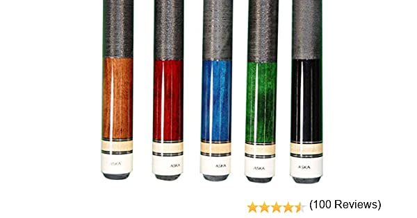 Juego de 5 tacos de billar de Aska L2, 147,3 cm de roca y arce canadiense, fuerte punta de 13 mm, pesos mezclados, negro azul, marrón, verde y rojoExcelente calidad.Mejora tu salón