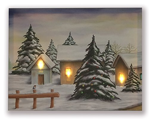 Hong Art-Framed Wall Art With LED lights Shine Through the Canvas Prints-Christmas Tree Candle Santa Claus Picture-Battery Operated for Home Decoration-Merry Christmas Photo-12x16 Inch(3 LED Lights) (Merry Christmas Candle)