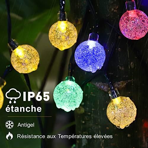 Guirlande Guinguette, Guirlande Solaire Exterieur, 7m 50LEDs 8 Modes Multicolores IP65 Imperméables Cristal Boules Lumières de Noël Décoratives pour Maison/Jardin/Fête/Patio/Parti/Mariage