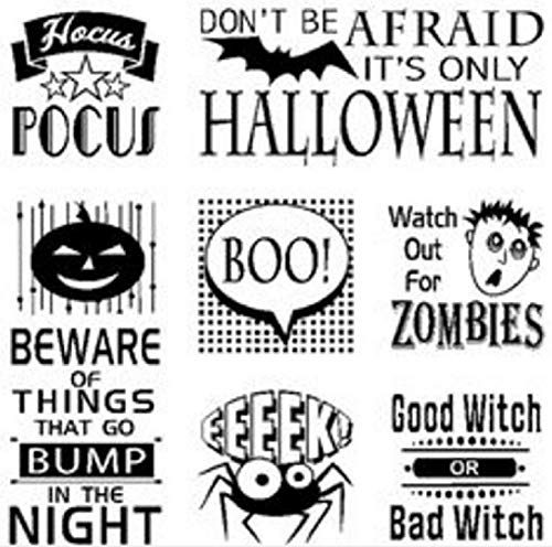 ShopForAllYou Stamping & Embossing Cling Rubber Stamp Set Holiday Inchie Squares Halloween -