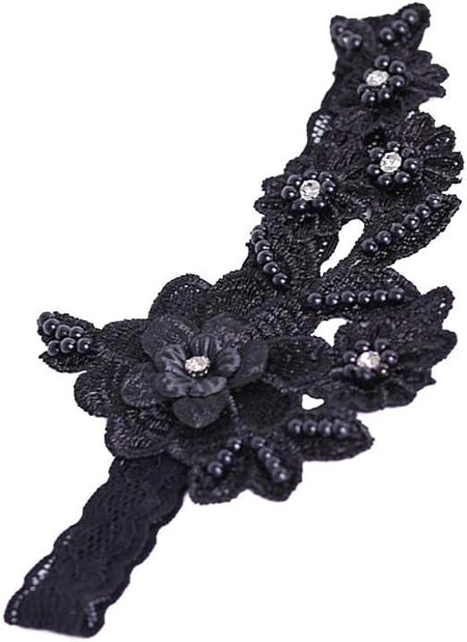 schwarz Amosfun Hochzeit Braut Strumpfband Spitze Perle Braut Fu/ß Dekor Floral Ornamente