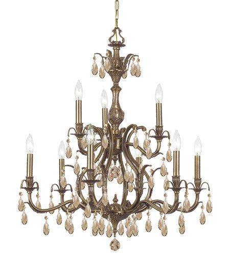 Chandeliers 9 Light with Antique Brass Golden Teak Hand Cut Crystal Brass 30 inch 540 Watts - World of ()