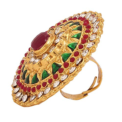 Yellow Chimes Traditional Ethnic Stones Studded Gold Plated Cocktail Wedding Rings for Women & Girls