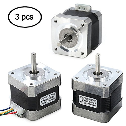 Stepper Motor Nema 17, 3 PCS Nema 17 Stepper Motor 4-Lead 1.8 Deg 40N.cm Holding Torque 1.7A 42 Motor for 3D Printer Hobby CNC Router XYZ by Beauty Star by Beauty Star