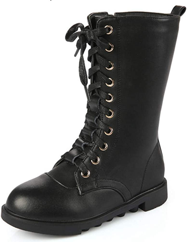 Botas de niños Martin de Cuero de Moda de Cabeza Redonda Impermeable Botas Planas de Nieve para niños Zapatos