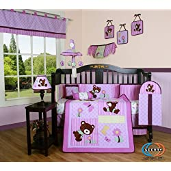 Boutique Girl Teddy Bear 13PCS CRIB BEDDING SET Purple
