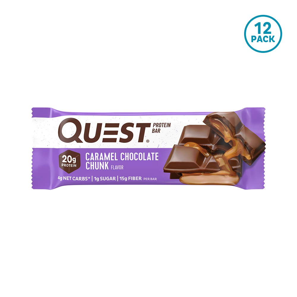 Quest Nutrition Caramel Chocolate Chunk Protein bar, High Protein, Low Carb, Gluten Free, Keto Friendly, 12Count by Quest Nutrition
