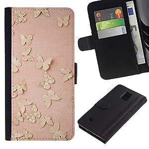 iBinBang / Flip Funda de Cuero Case Cover - Vintage Pink Peach - Samsung Galaxy Note 4 SM-N910