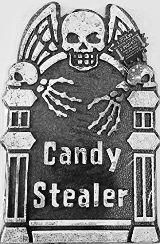A&T Designs Candy Stealer Skull Tombstone w/Stakes Halloween Graveyard Scene Prop Decoration - Party, Haunted House (16.25