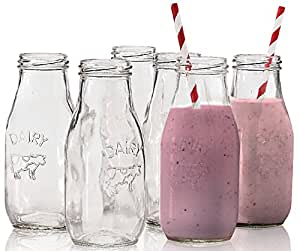 "Circleware Country ""Dairy"" Glass Milk Bottles Beverage/drink Cups, 6 Glass Bottles, 10.5 Ounce, Limited Edition Glassware Serveware Drinkware"