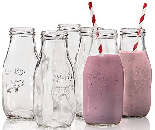"Circleware Country ""Dairy"" Glass Milk Bottles, 6 , Set of 6, 10.5 Ounce"