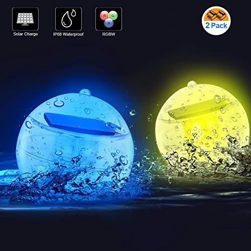 LETOUR Decorative Lights LED Solar Floating Pool Lights RGB Flash Lights, Colorful Lamps Floating Balls, Rechargeable Floating Lights (2 Pack Solar Floating Lights)