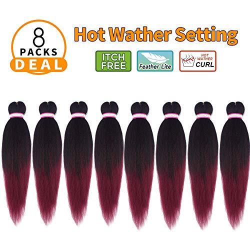 Liyate EZ Braid Pre-Stretched Professional Braiding Hair Perm Yaki Hair Straight 20 Inch 8 Packs/Lot Crochet Braids Hot Water Setting Synthetic Hair Extensions Low Temperature (#1B/Bug)