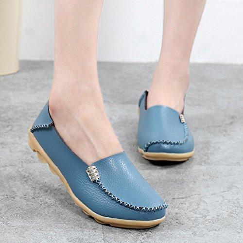 Lucksender Damessleer Drijfschoenen Loafers Bootschoenen Lichtblauw