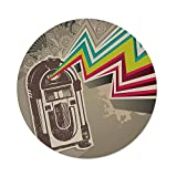 iPrint Polyester Round Tablecloth,Jukebox,Antique Vintage Retro Radio Party with Colorful Zig Zag Design Image,Light Grey and White,Dining Room Kitchen Picnic Table Cloth Cover,for Outdoor Indoor