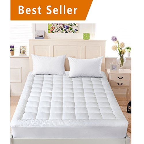 """INGALIK Queen Size Mattress Pad Cover Cotton Deep Pocket Fits Up to 8"""" 21"""" Fitted Mattress Topper Snow Down Alternative Cooling mattress cover Hypoallergnic bed Topper"""