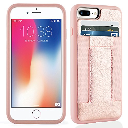 Iphone 8 Plus Case  Iphone 7 Plus Case Iphone 7 Plus 8 Plus Wallet Case With Credit Card Slots  Id Card Durable Slim Shockproof Cover For Iphone 7 8 Plus Rosegold