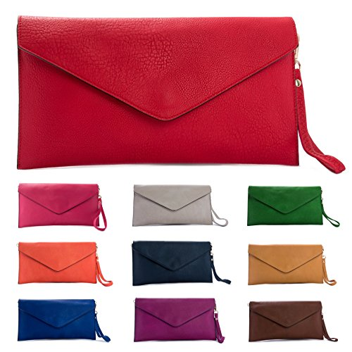 Big Handbag Shop Womens Faux Leather Envelope Clutch Bag with Long Shoulder Strap