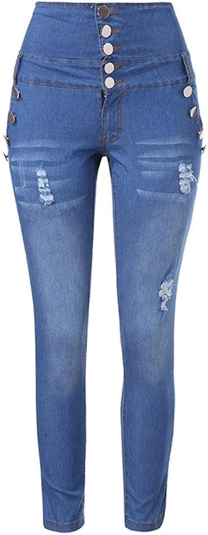 Henshixin De Las Mujeres Dingkou Los Pantalones Vaqueros De Cintura Alta Estiran Los Pantalones Vaqueros Pantalones Comodos Color Blue Size 2xl Amazon Es Ropa Y Accesorios