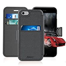 iPhone 6/6S Leather Wallet Plastic Case with Credit Cards Slot and Metal Clip, TAKEN Apple i Phone 6S Flip Cover, Vintage and Fashion, Durable and Shockproof Holster, 4.7 Inch (Gray) 2014/2015