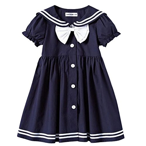 Frogwill-Girls-Sailor-Style-Dress-Lapel-Navy-Cotton-Dress-With-Big-Bow-Tie