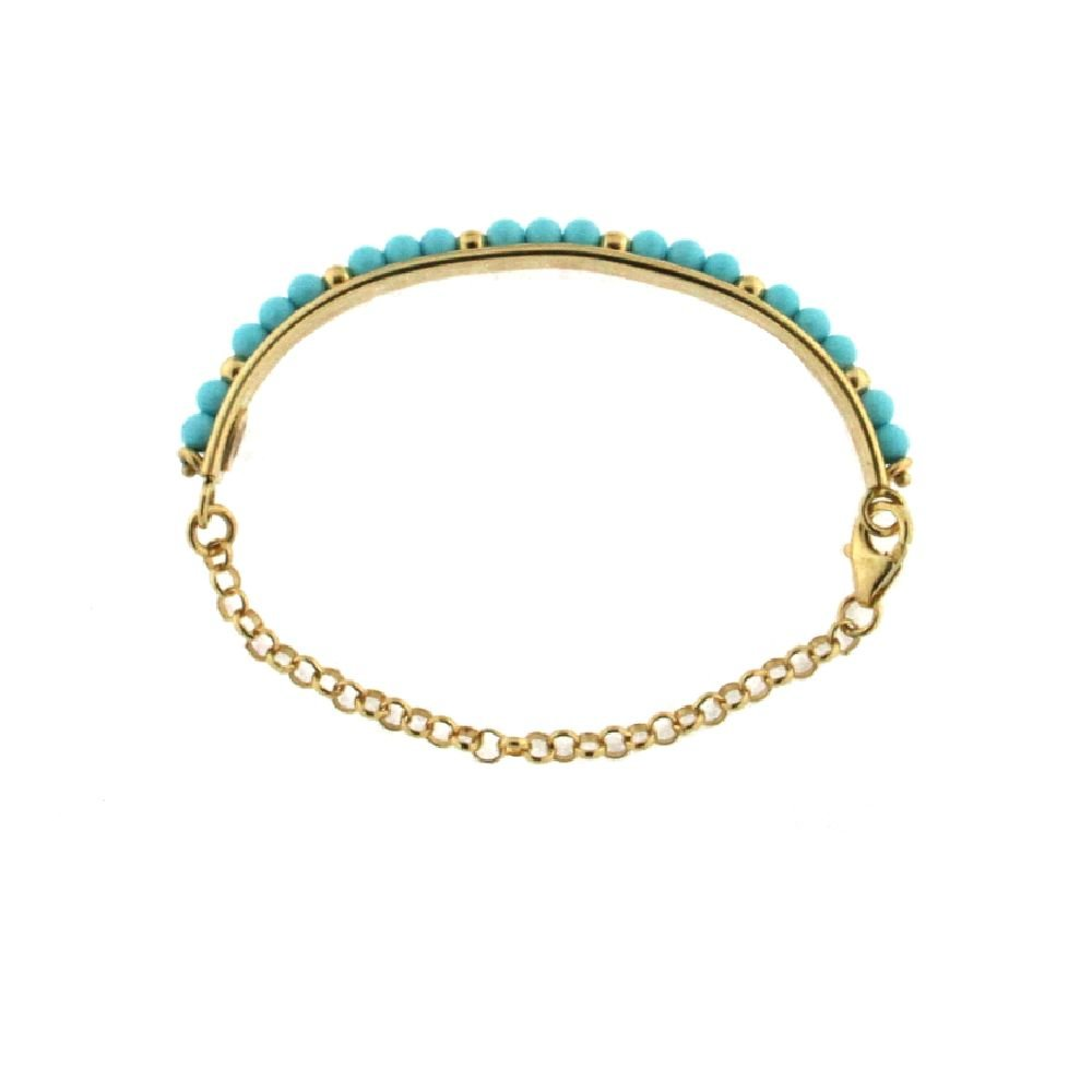 5.25 inches 18K Yellow Gold Turquoise paste Beads Half Bangle Bracelet for Babies