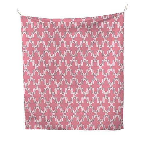QuatrefoiltapestryOld Architectural Mosaic Pattern White Ornate Curves Entwined on Pink Backdrop 40W x 60L inch Wall tapestryPink White