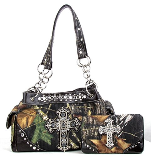 With Purse Wallet Camouflage COFFEE Cross Camo Handbag Rhinestone Matching Western XqPYx5