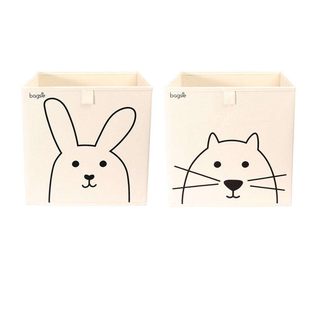Storage Bins Bundle Cube Box Basket 13 inch Toy Organizer (1 Rabbit, 1 Cat)