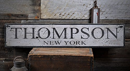 Vintage THOMPSON, NEW YORK - Rustic Hand-Made Wooden USA City Sign - 11.25 x 60 Inches