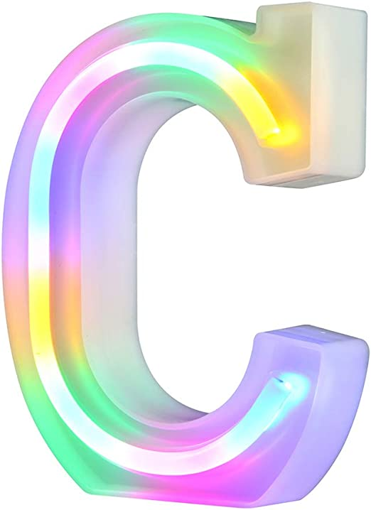 26 Alphabet Night Light Marquee Letters Alphabet Letter Bar Sign Letter Signs for Wedding Christmas Birthday Partty Supplies,USB/Battery Powered Light Up Letters for Home Decoration-Colourful C