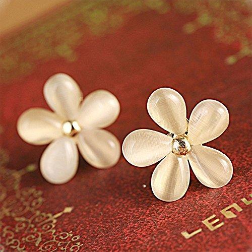 phitak shop Five-Petals White Flowers Earrings Opal Earring Ear Stud Earring Sakura Flower