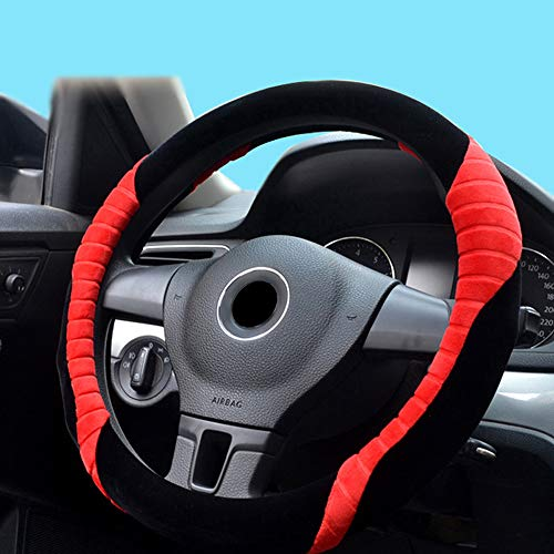 Toyota Softcover - BauZeit Universal Plush Car Steering Wheel Covers for Women & Girl 15 inch/37-38cm Protector - Faux Wool Leather Winter Warm Soft Cover Protection for Auto SUV Vehicles Truck Lorry Van, Black & Red