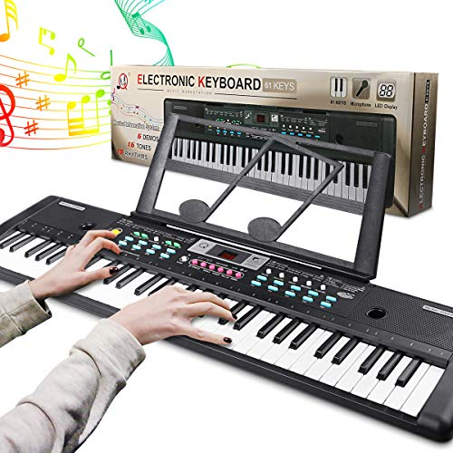 Electronic Keyboard Piano 61 Key, Portable Piano Keyboard with Music Stand, Microphone, Power Supply Digital Music Piano Keyboard for Kids/Adult