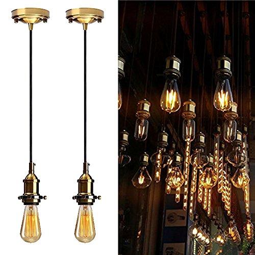 Industrial Vintage Pendant Lamp Holder DIY Kit, Jeffrien 2 x Retro Ceiling Bronze E26 Light Socket Hanging Lighting Fixture with Black Twisted Fabric Cable for Loft Bar Kitchen Bedroom ()
